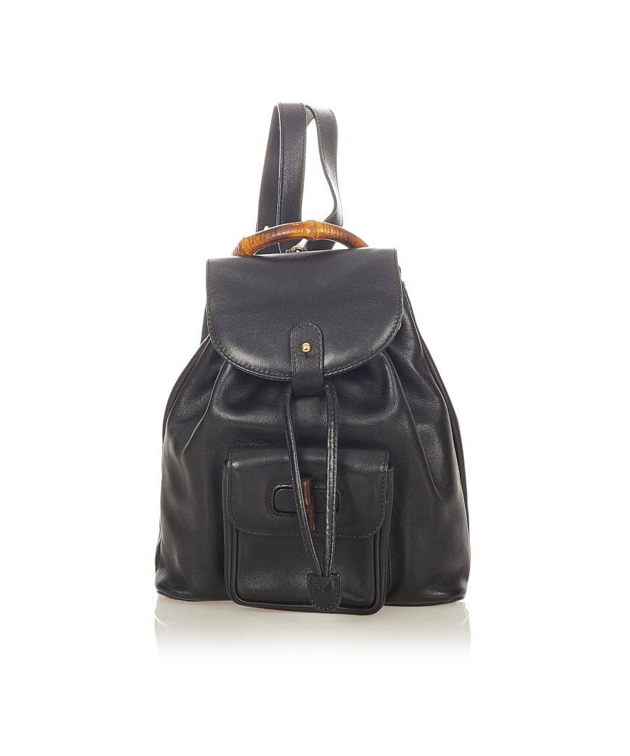 Image for Vintage Gucci Bamboo Drawstring Leather Backpack Black