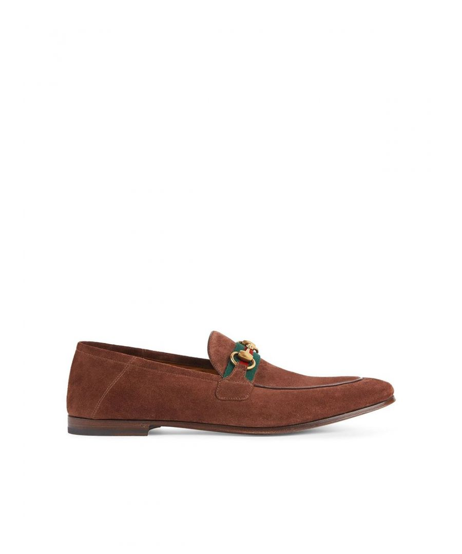 Image for GUCCI MEN'S 5815131M6202273 BROWN SUEDE LOAFERS