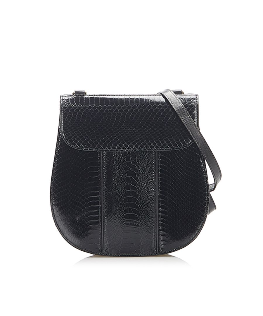 Image for Vintage YSL Lizard Leather Crossbody Black