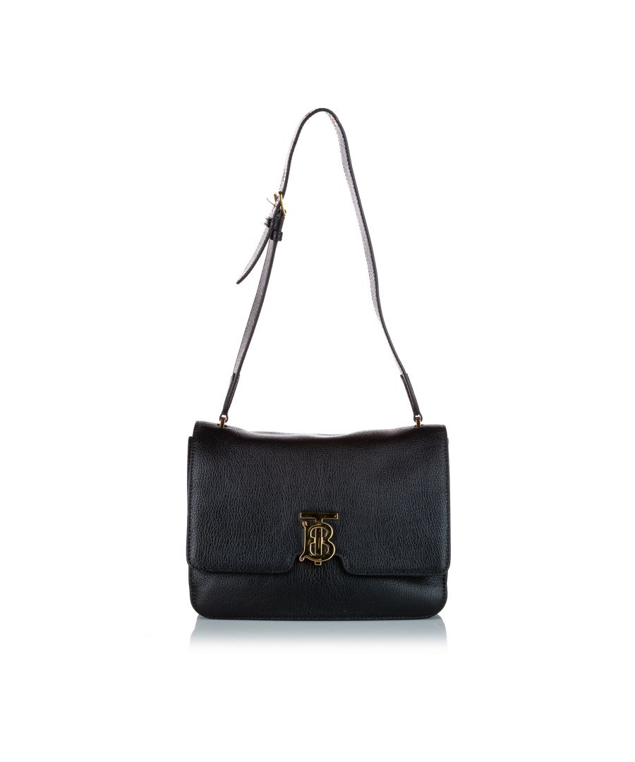 Image for Vintage Burberry TB Leather Shoulder Bag Black