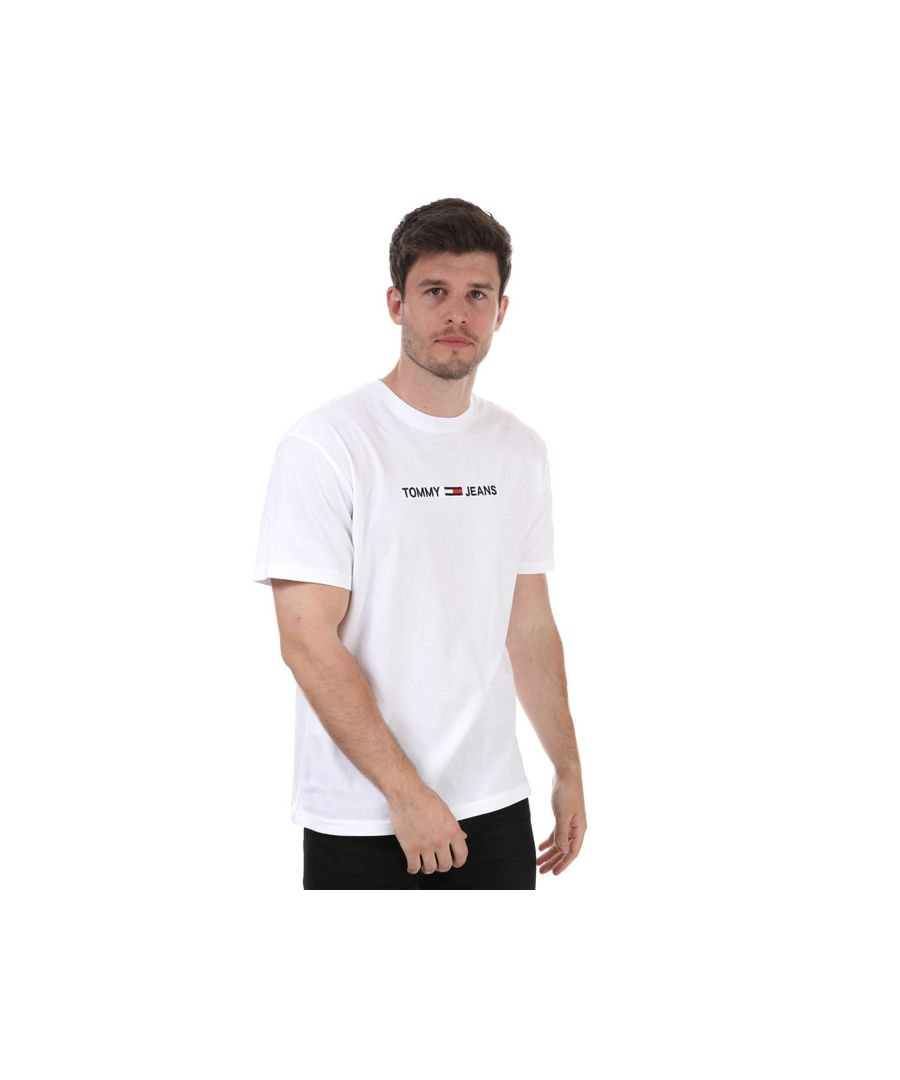 Image for Tommy Hilfiger Men's Straight Logo T-Shirt in White