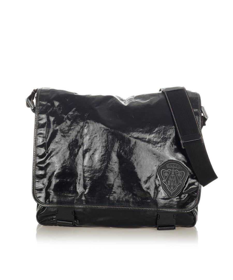 Image for Vintage Gucci Crest Coated Canvas Crossbody Bag Black