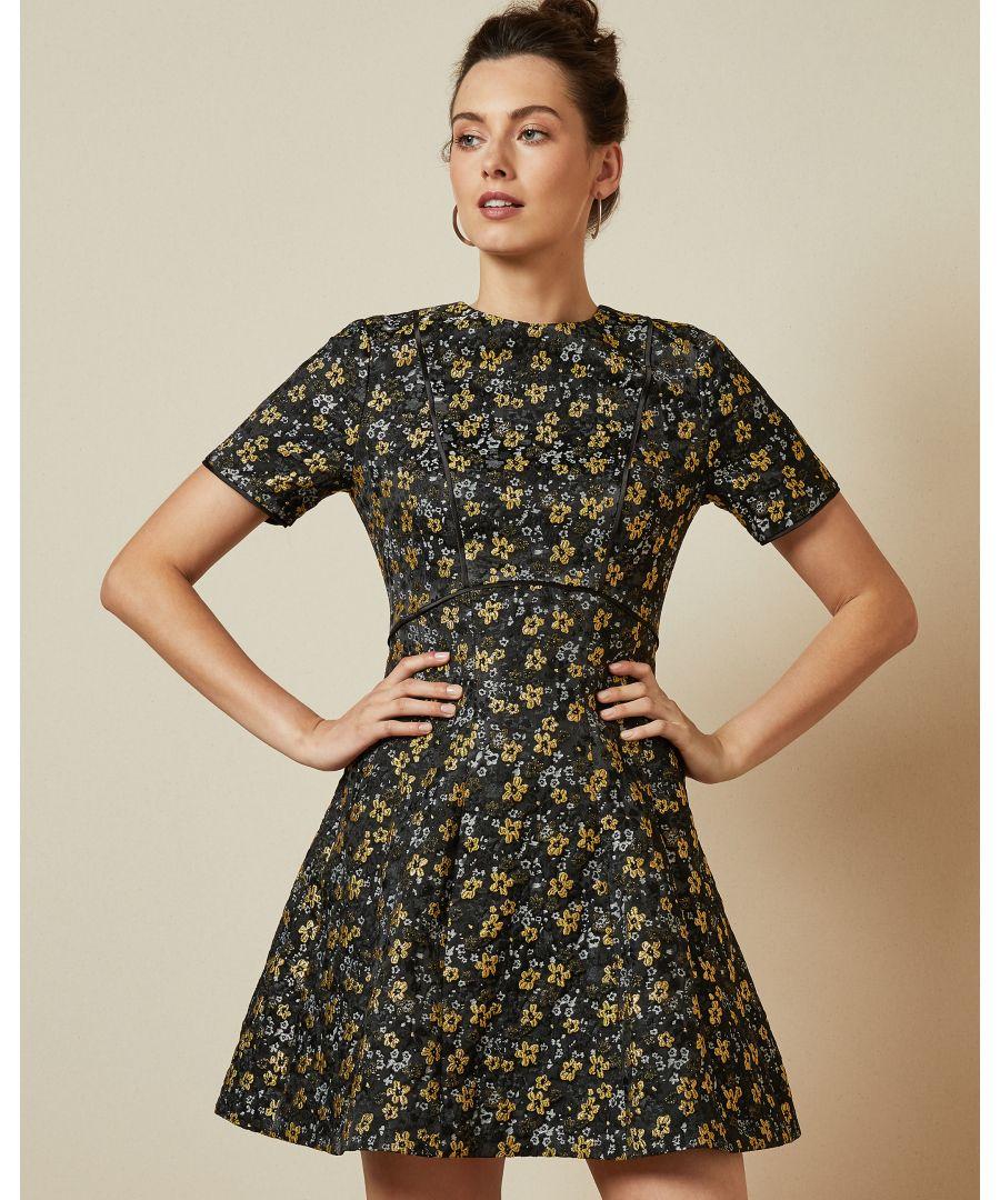 Image for Ted Baker Divwine Floral Jacquard Skater Dress, Black