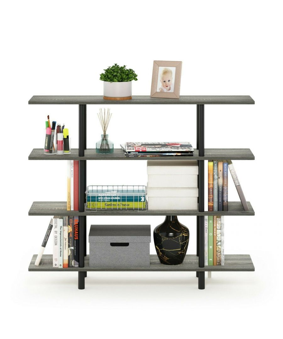 Image for Furinno Turn-N-Tube 4-Tier Wide Display Shelf - French Oak Grey/Black