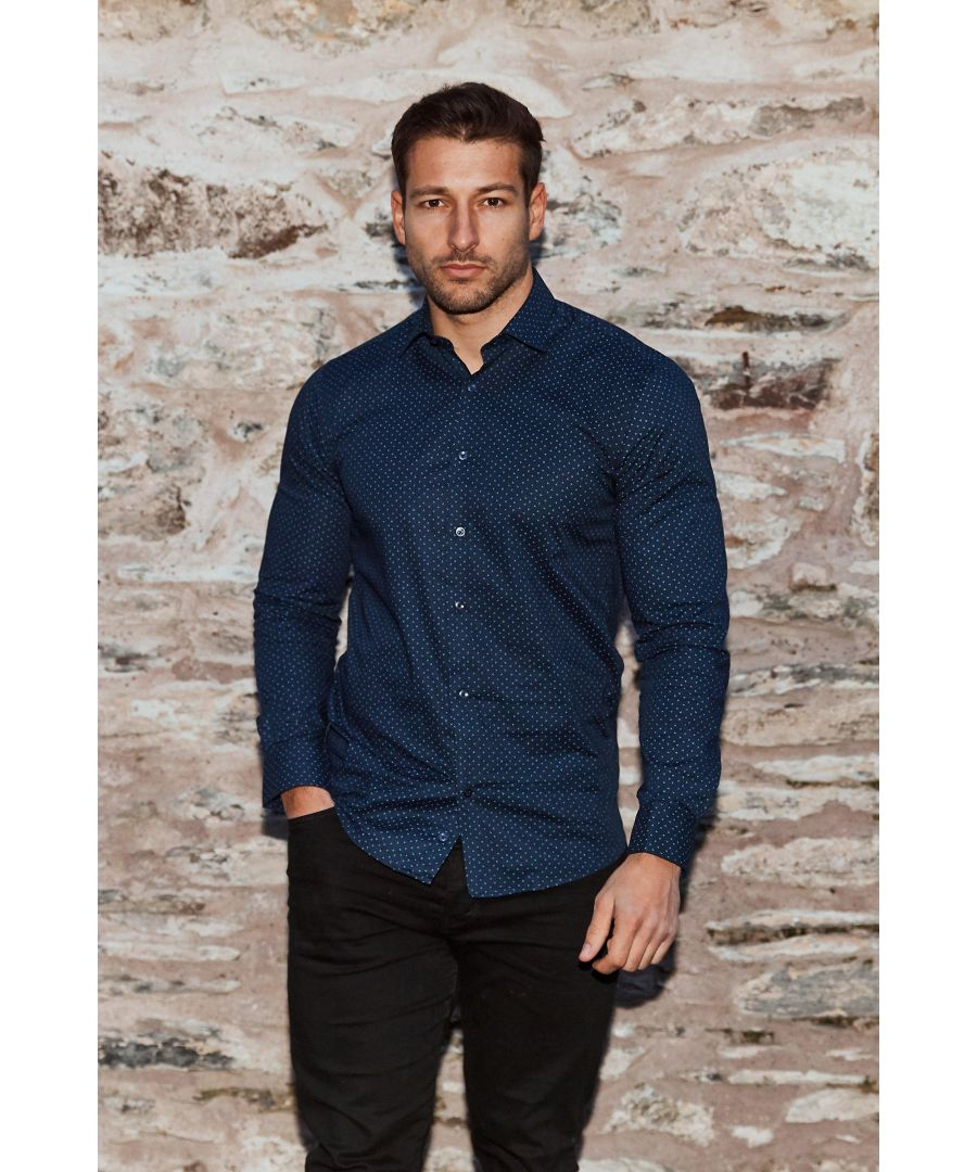 Image for Long Sleeve Shirt With All Over Print in Navy