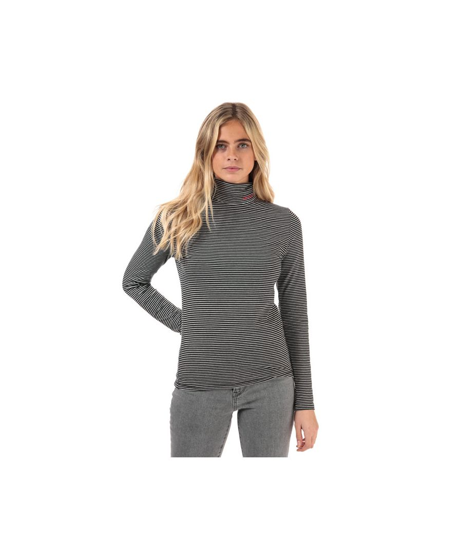 Image for Women's Levis Stripe Turtleneck Knit Top in Black-White