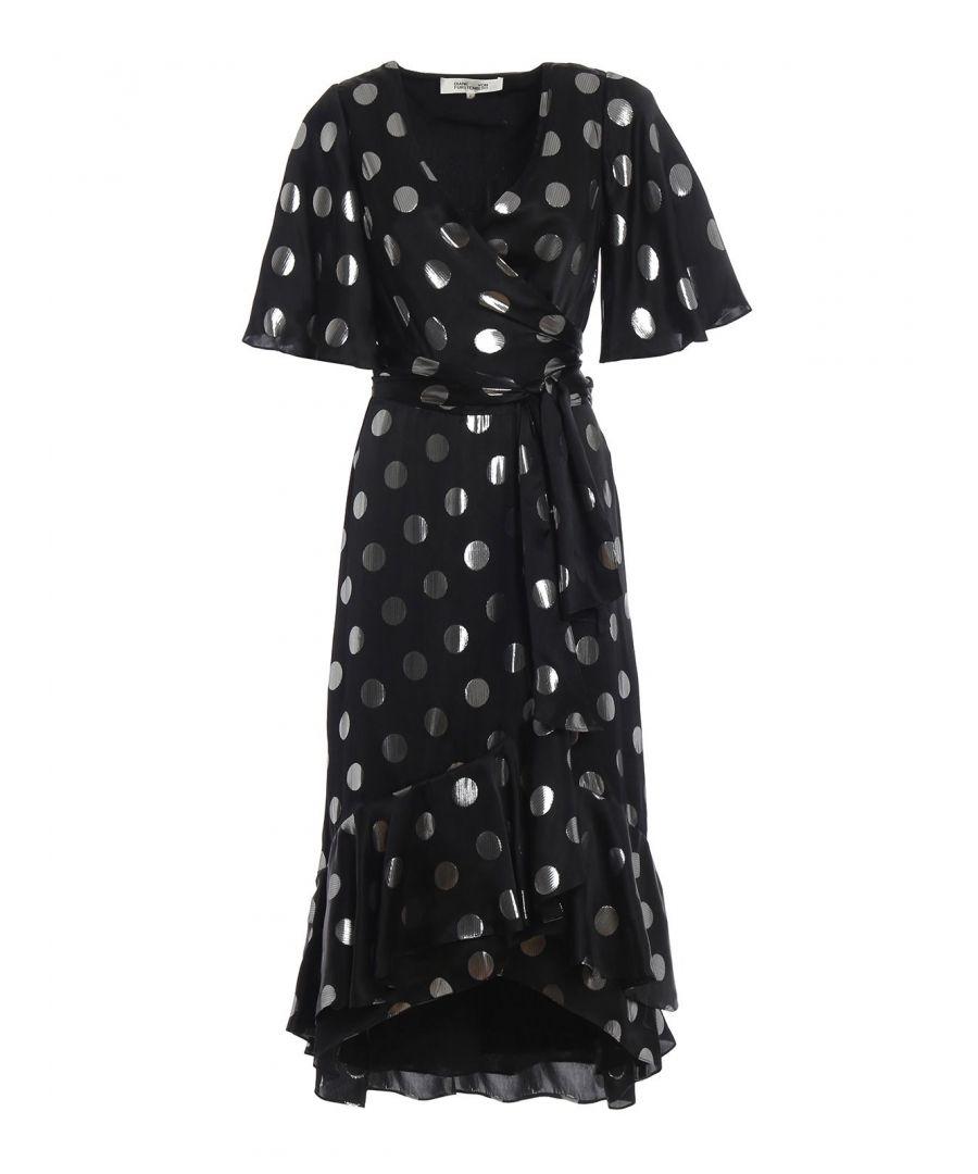 Image for DIANE VON FURSTENBERG WOMEN'S 12447BLKSV BLACK SILK DRESS