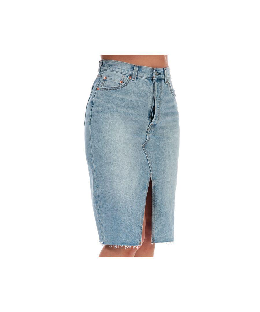 Image for Women's Levis Deconstructed Midi Skirt Light Blue 25 inchin Light Blue