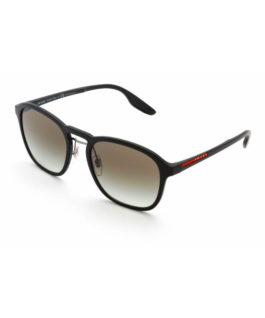 Image for Prada Sport Rectangular Plastic Men Sunglasses Black / Grey Gradient