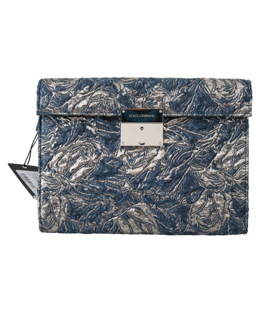 Image for Dolce & Gabbana Blue Silver Jacquard Leather Document Briefcase Bag
