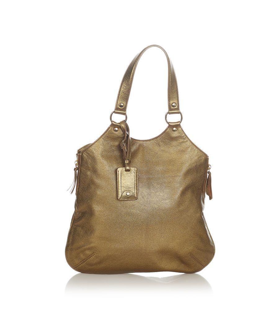 Image for Vintage YSL Sac Metropolis Leather Tote Bag Gold