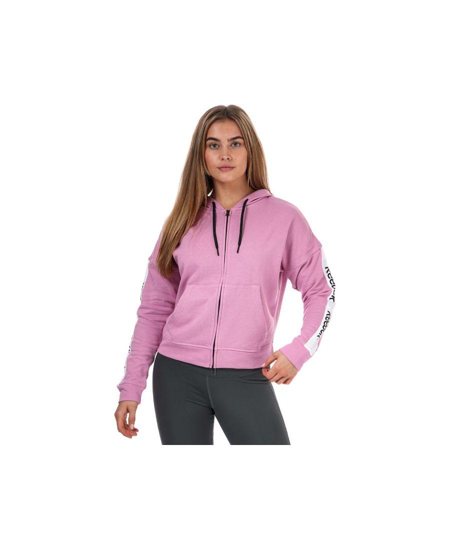Image for Women's Reebok Te Linear Logo Zip Hoodie Pink 16-18In Pink