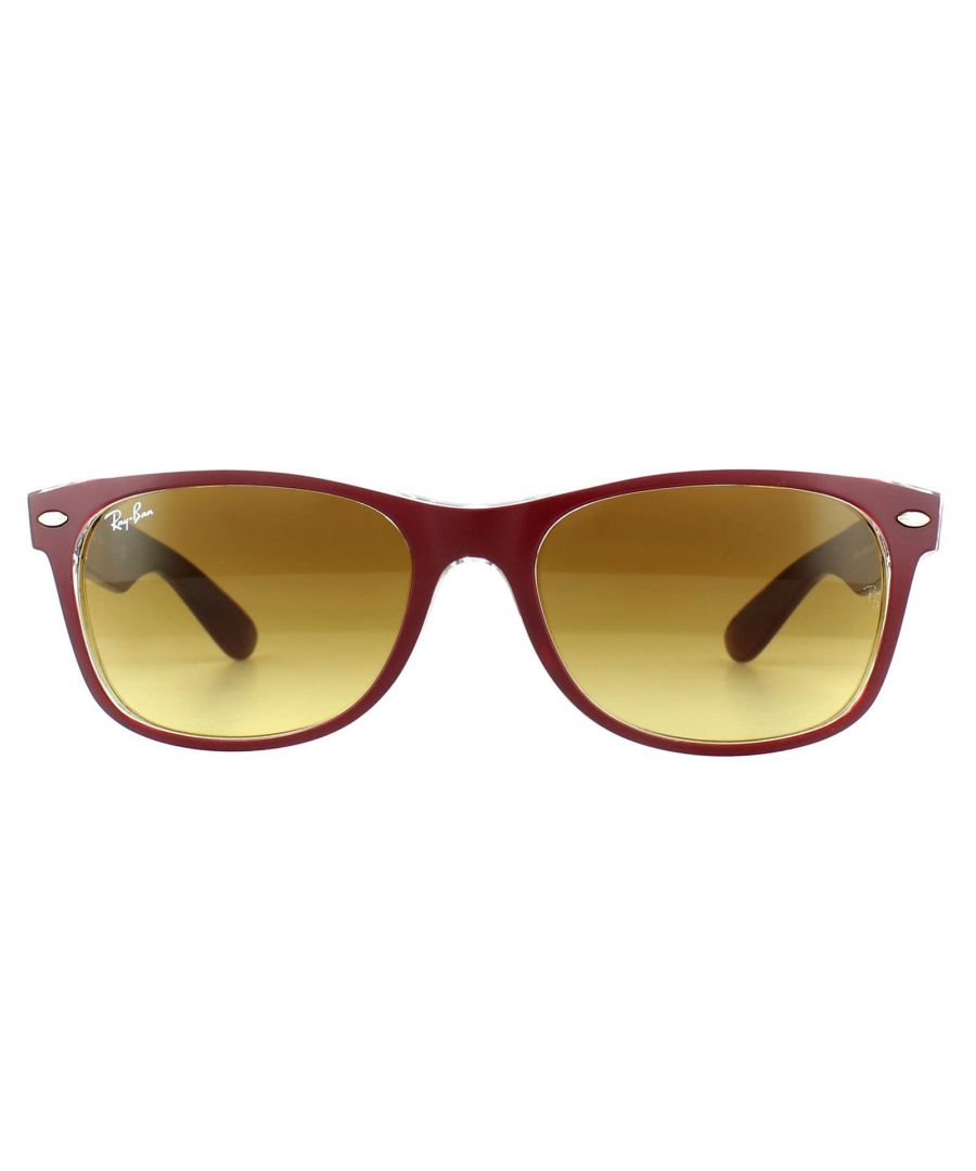 Image for Ray-Ban Sunglasses New Wayfarer 2132 605485 Red Transparent Brown Gradient 52mm