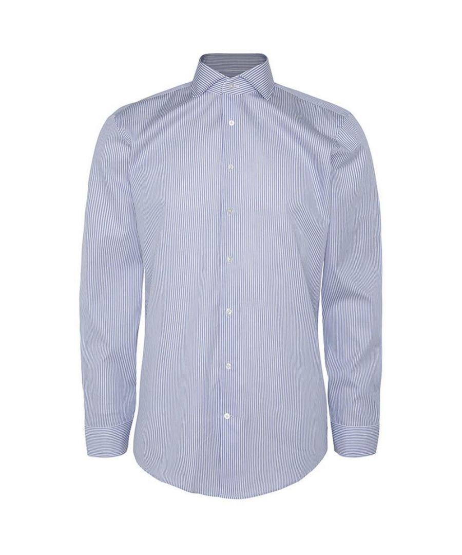 Image for Men's Hackett, Mayfair Twill Bengal Stripe Single Cuff Shirt in Blue & White