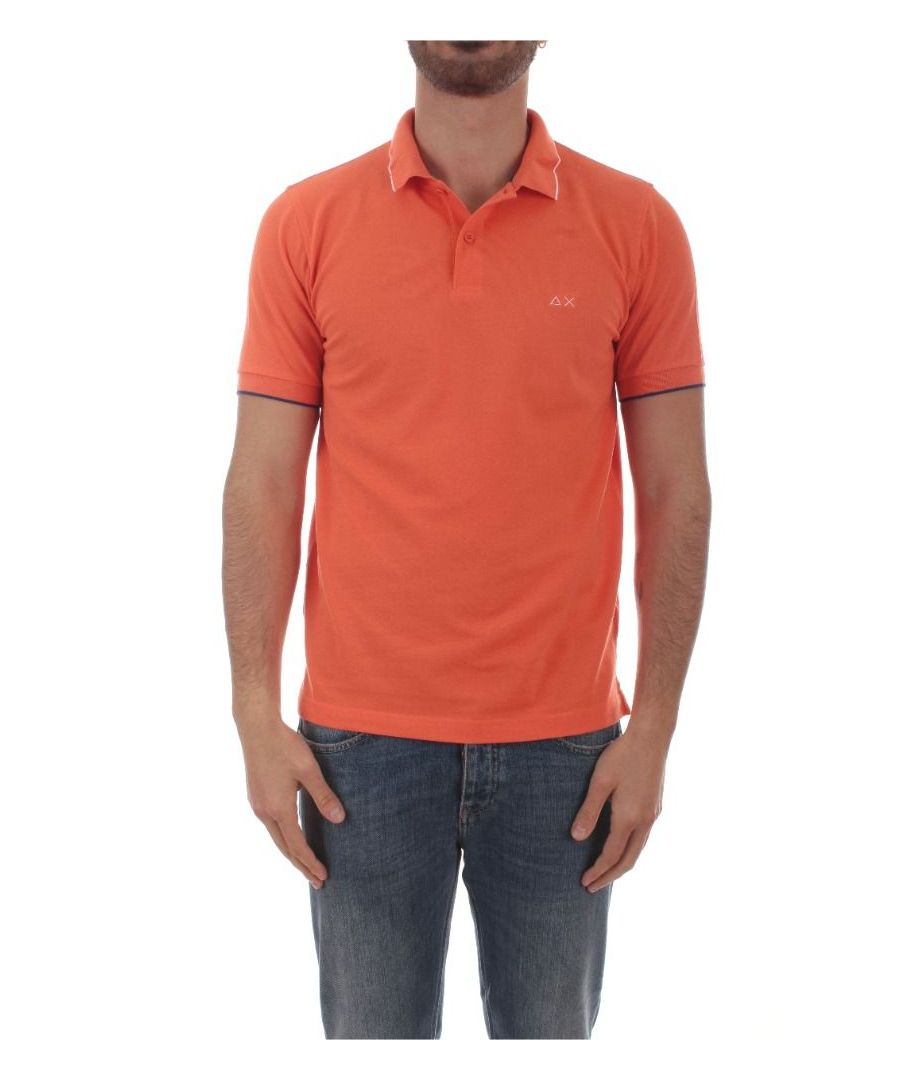 Image for SUN 68 MEN'S A3010603 ORANGE COTTON POLO SHIRT