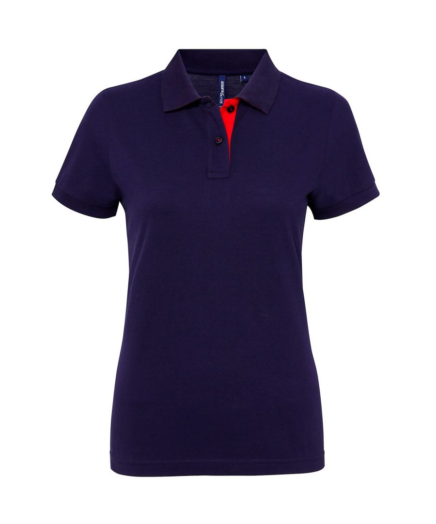 Image for Asquith & Fox Womens/Ladies Short Sleeve Contrast Polo Shirt (Navy/ Red)