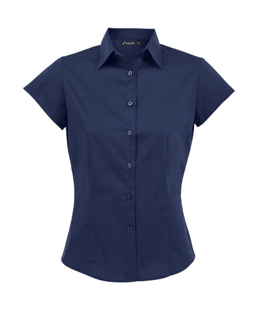 Image for SOLS Womens/Ladies Excess Short Sleeve Fitted Work Shirt (Dark Blue)