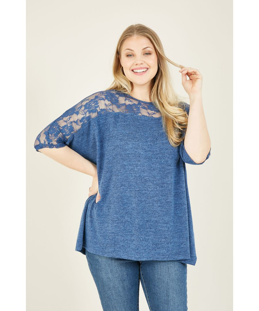 Image for Mela London Curve Lace Sleeve Top