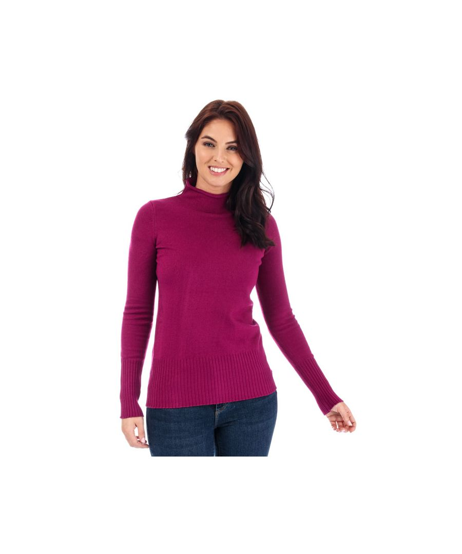 Image for Women's French Connection Babysoft Roll Neck Jumper in Berry