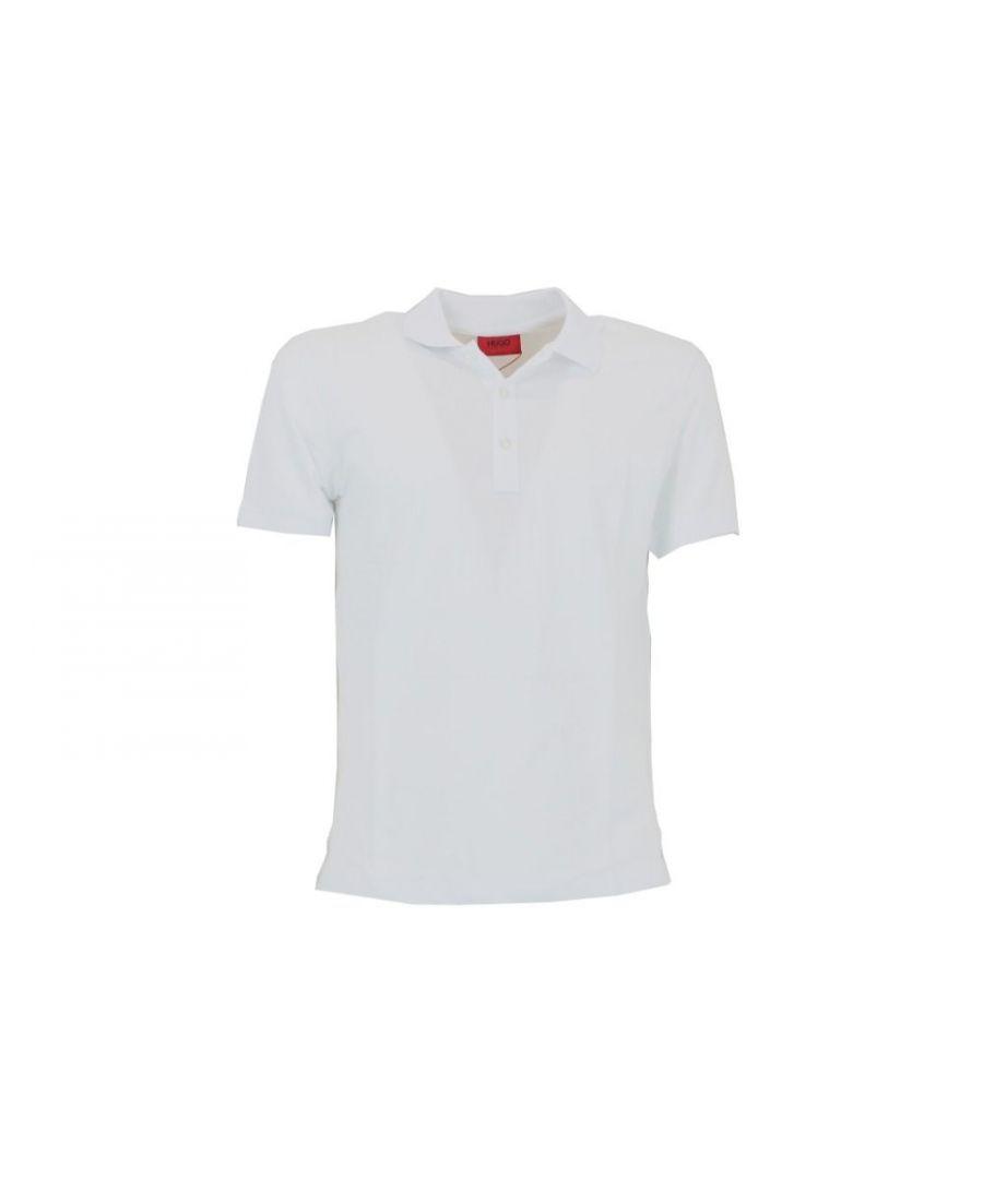 Image for HUGO BOSS MEN'S 53830102100 WHITE COTTON POLO SHIRT