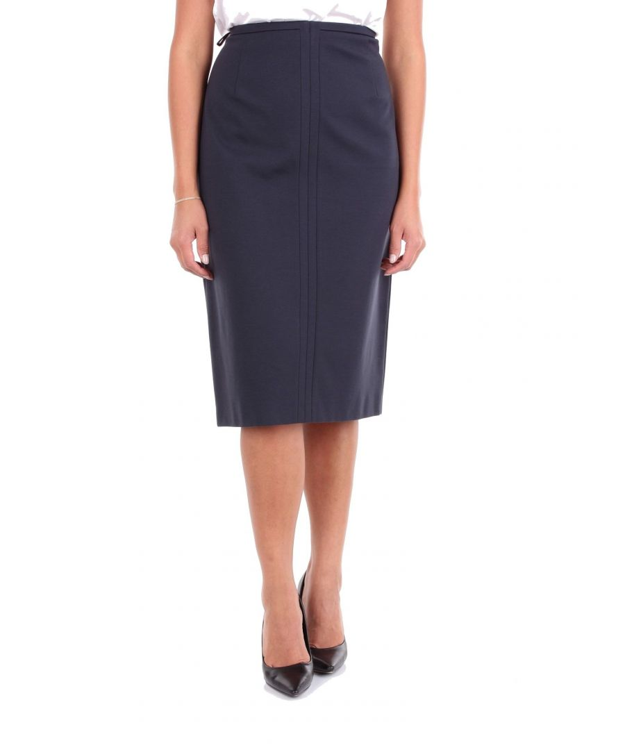Image for LES COPAINS WOMEN'S 0L4030BLUE BLUE VISCOSE SKIRT