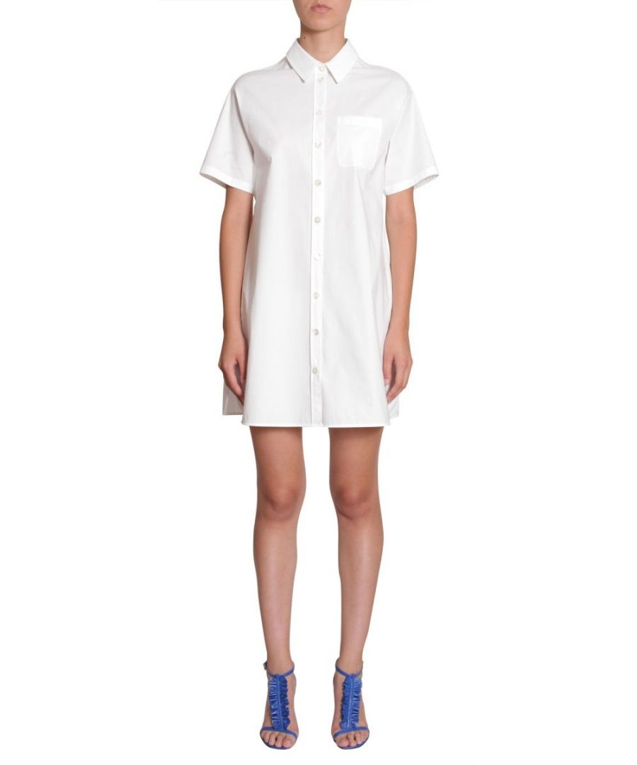Image for BOUTIQUE MOSCHINO WOMEN'S A043808350002 WHITE COTTON DRESS