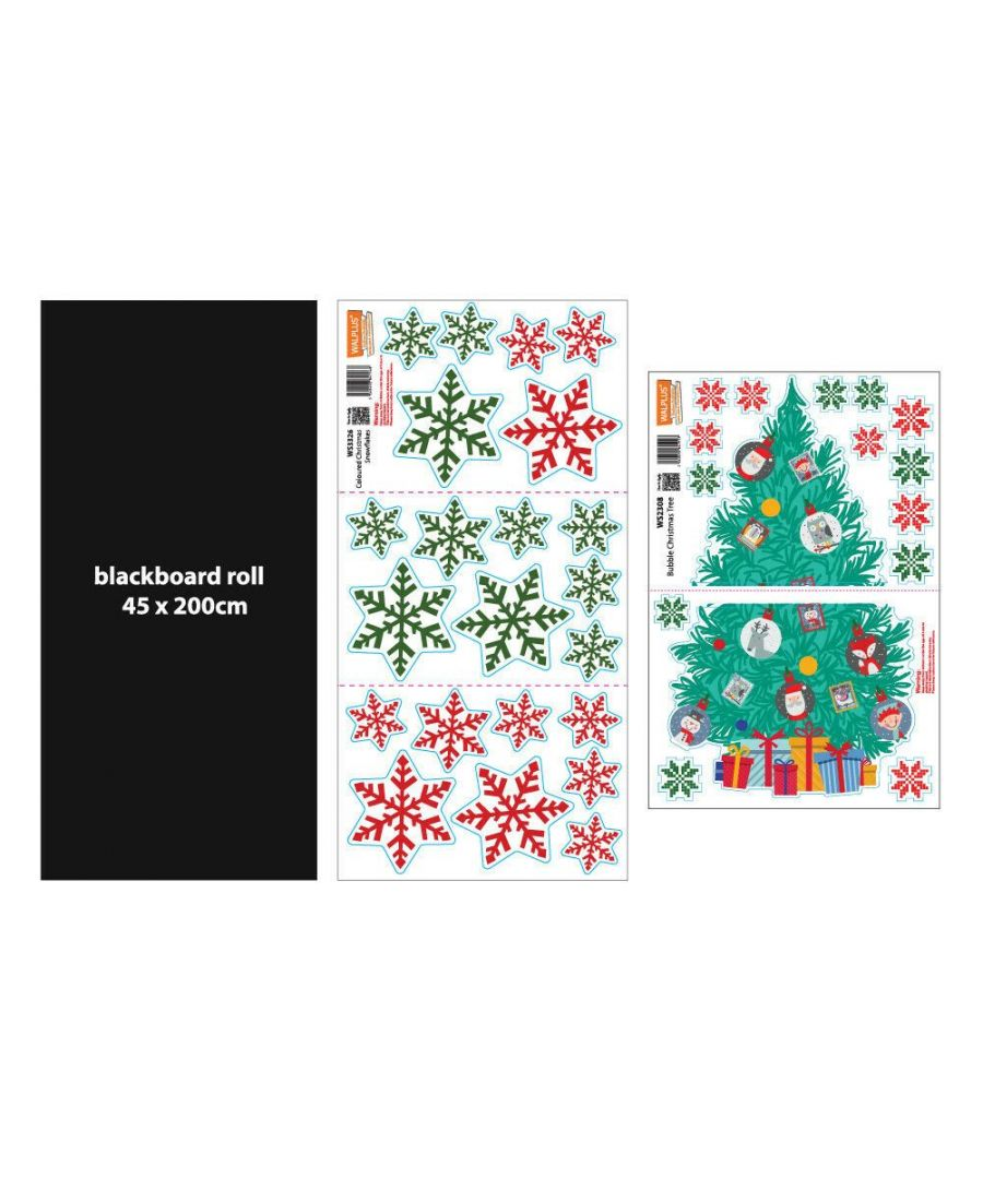 Image for C3W0009 - Blackboard Colourful Snowflakes and Christmas Tree Stickers - WS2308 + WS1109 + WS3326