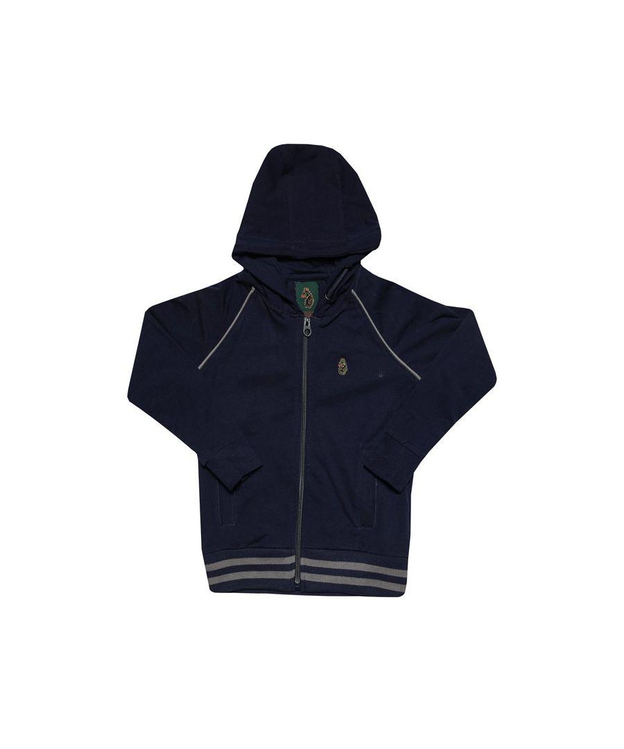 Image for Boys' Luke 1977 Infant Stag Run Zip Hoodie in Navy Grey