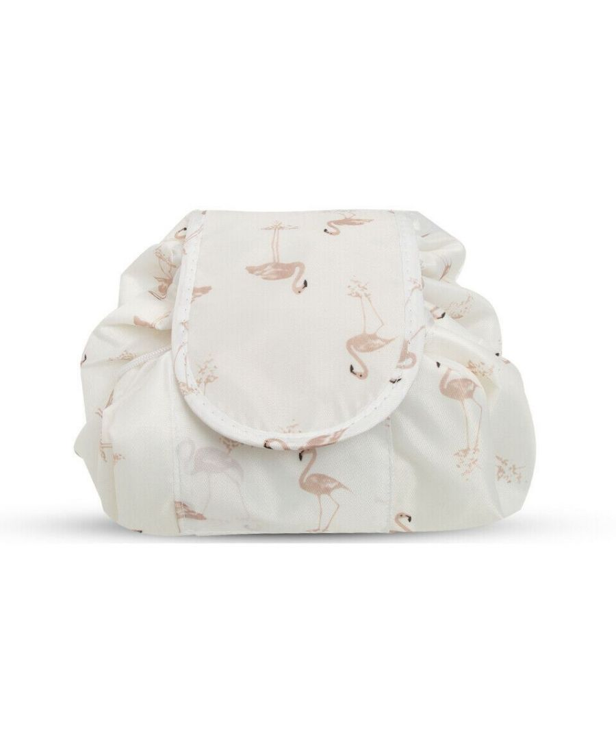 Image for Envie Travel Cosmetic Drawstring Polyester Bag Pouch Flamingo Cream