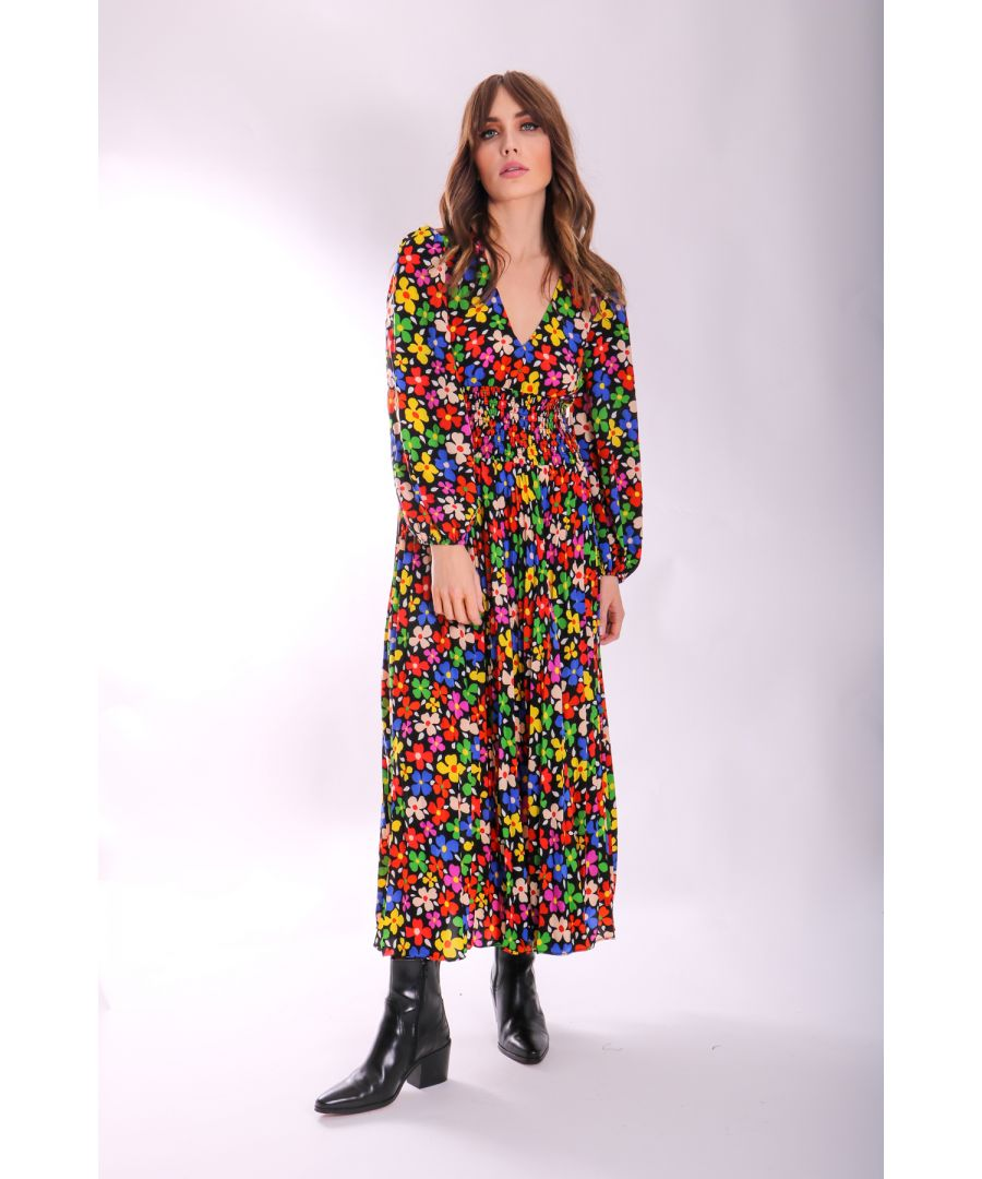 Image for Aurora Midi Pleated Dress in Floral Print