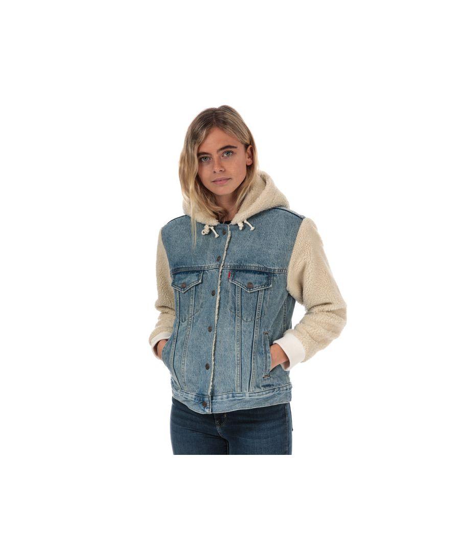 Image for Women's Levis Ex-Boyfriend Sherpa Sleeve Trucker Jacket in Denim