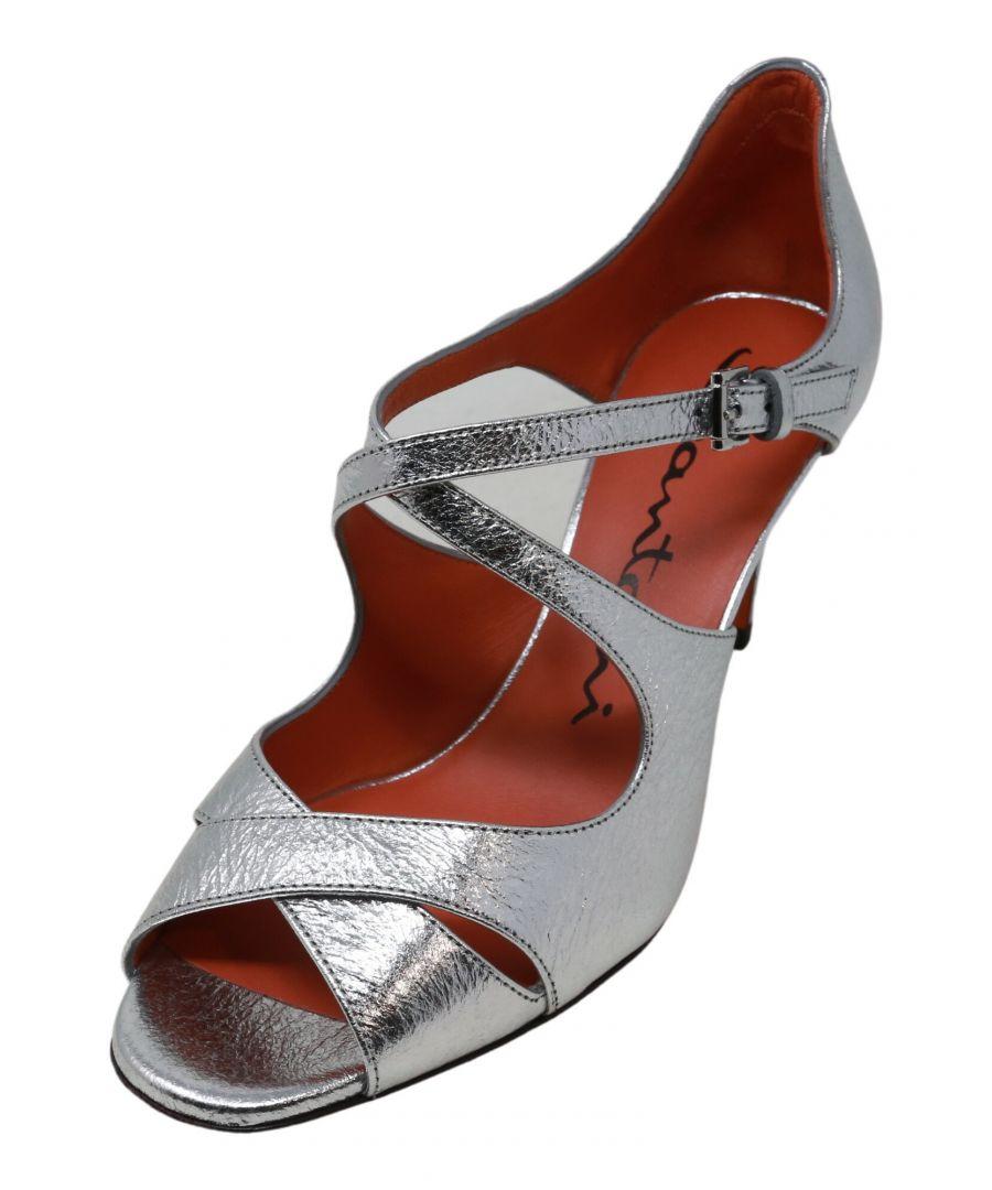 Image for Santoni Women's Strappy Sandal Whmc58404 Silver Ankle-High Pump - 6M