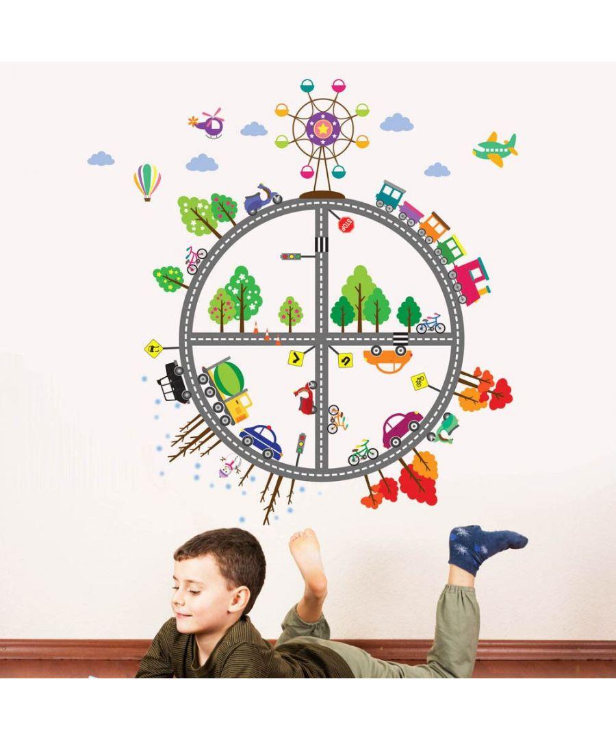 Image for Kid's Transport 2 Self Adhesive DIY Wall Stickers Kids Room, nursery, children's room, boy, girl