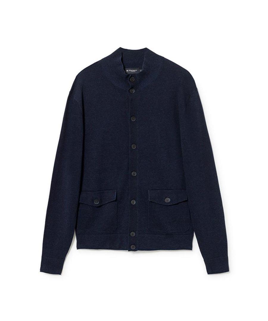 Image for Men's Hackett, Cotton & Linen Blouson Sweater in Navy