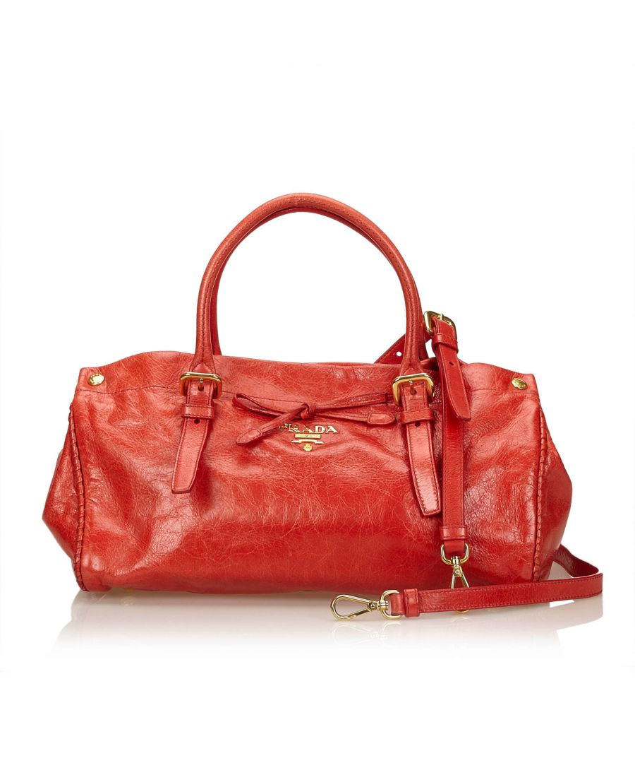 Image for Vintage Prada Leather Handbag Red