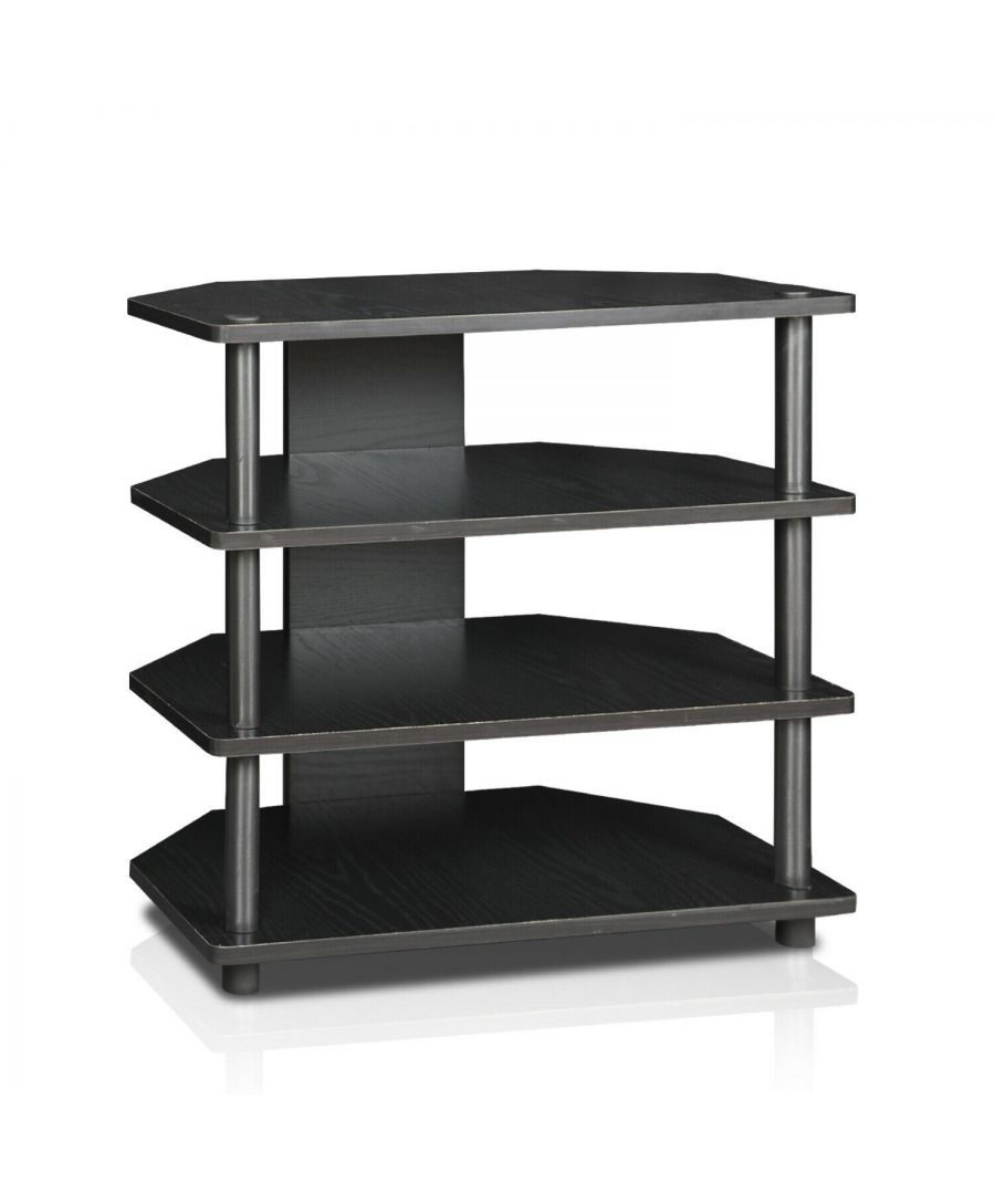 Image for Furinno 15093BW/BK Turn-N-Tube Easy Assembly 4-Tier Petite TV Stand, Blackwood
