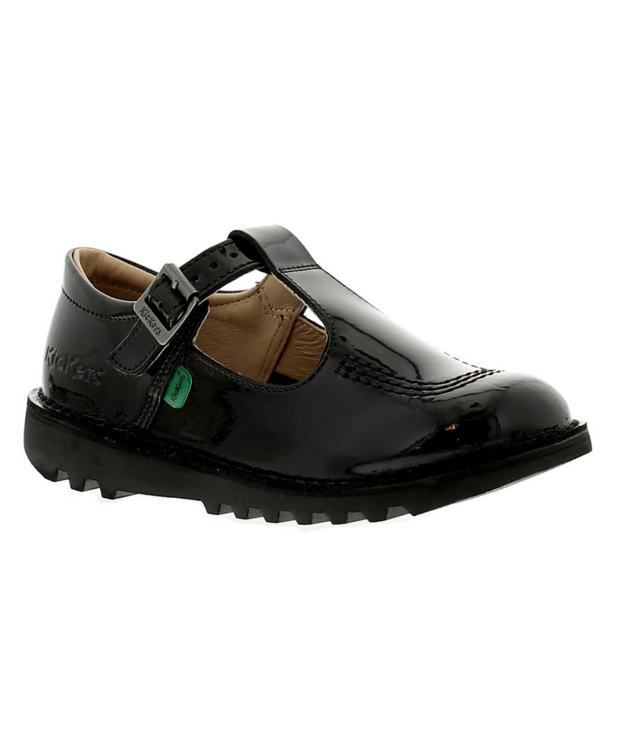 Image for Kickers T Bar J Girls Kids School Shoes Black