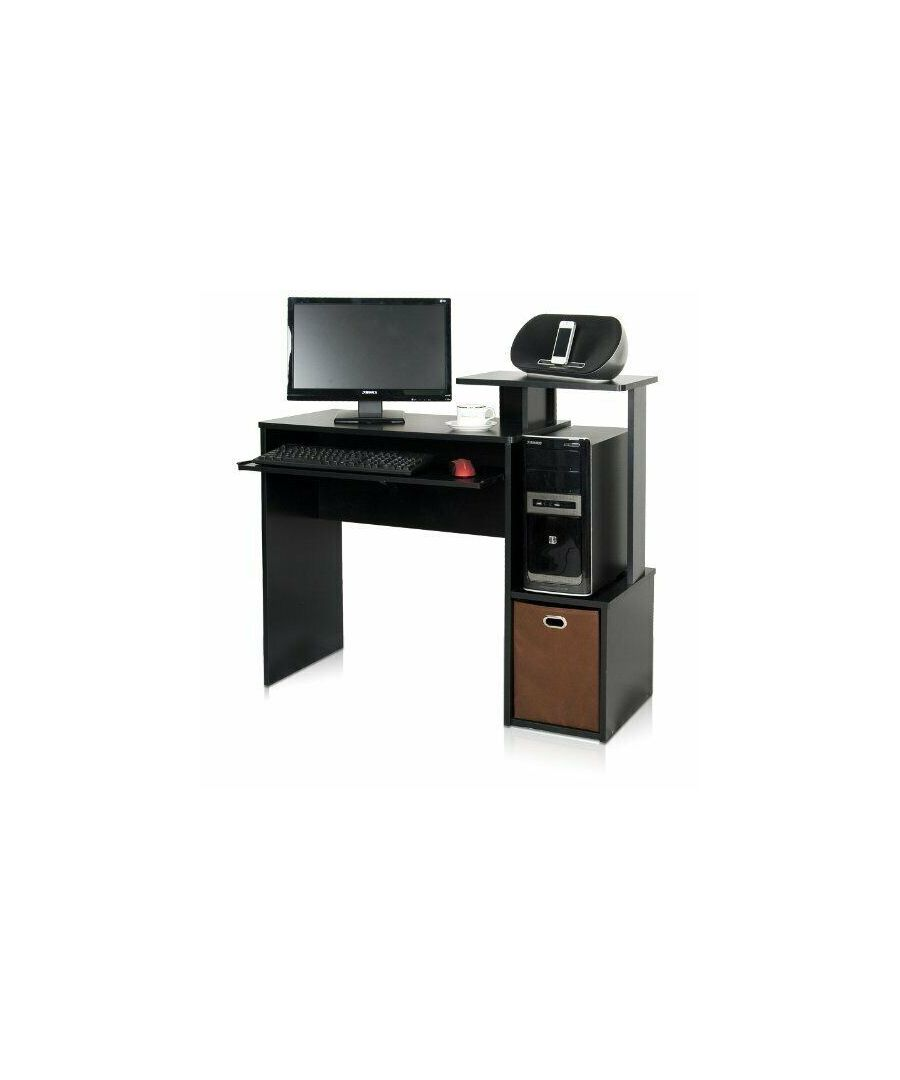 Image for Furinno Econ Multipurpose Home Office Computer Writing Desk w/Bin, Black/Brown