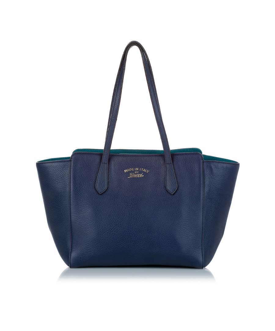 Image for Vintage Gucci Swing Leather Tote Bag Blue