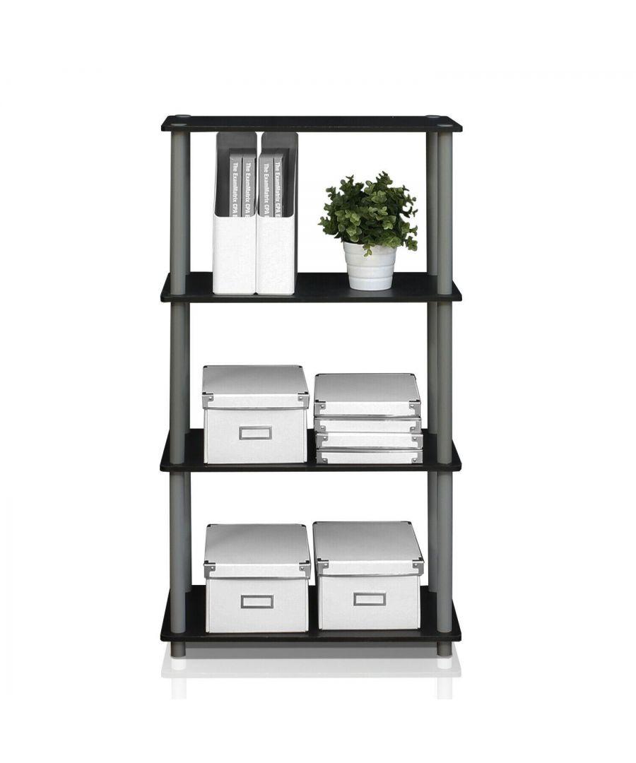 Image for Furinno Turn-N-Tube 4-Tier Multipurpose Shelf Display Rack - Black/Grey