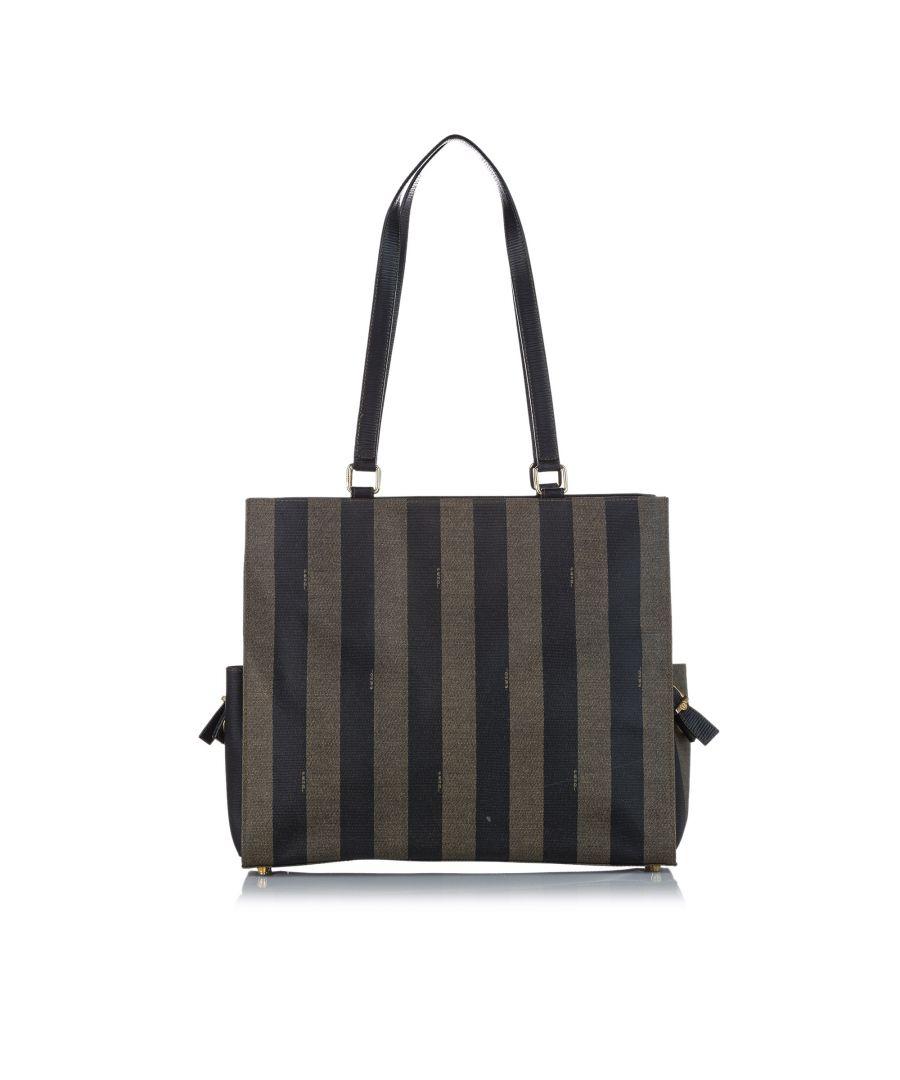 Image for Vintage Fendi Pequin Tote Bag Brown