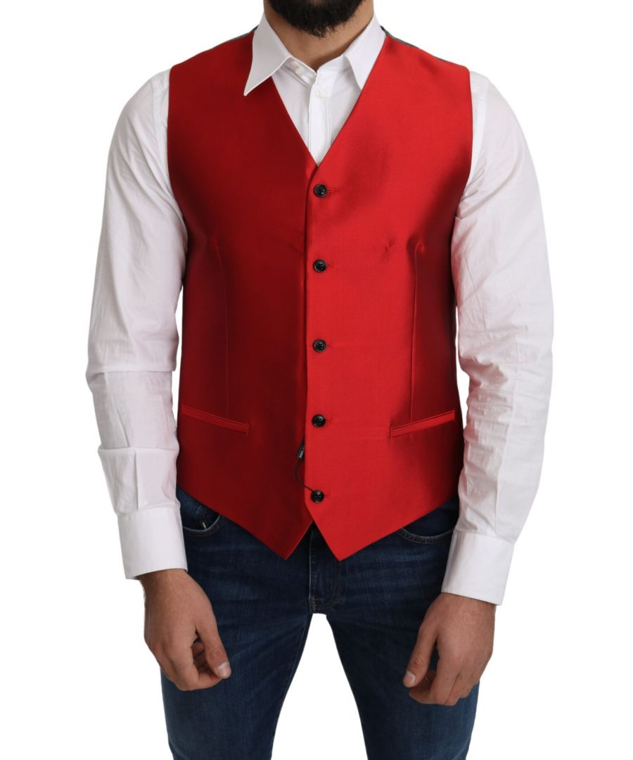 Image for Dolce & Gabbana Red 100% Silk Formal Waist Coat Vest