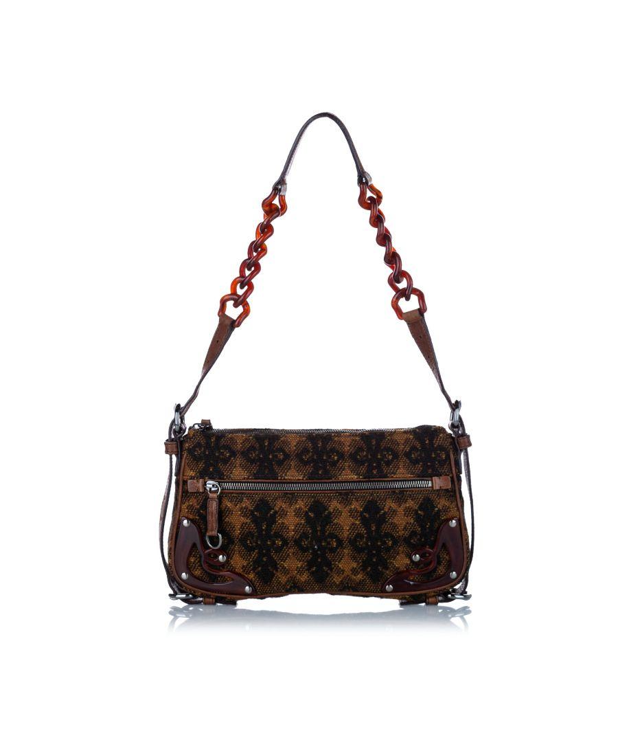 Image for Vintage Miu Miu Knit Wool Shoulder Bag Brown