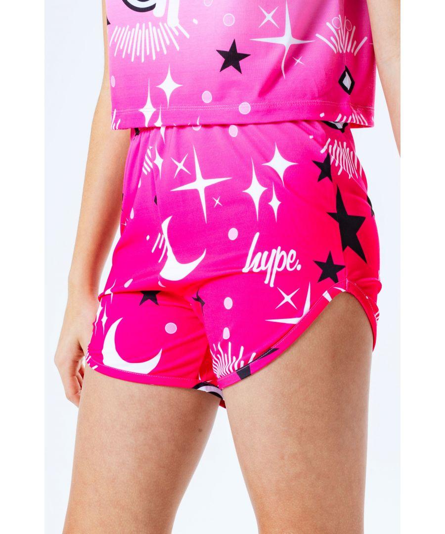 Image for Hype Pink Mystic Aop Kids Runner Shorts