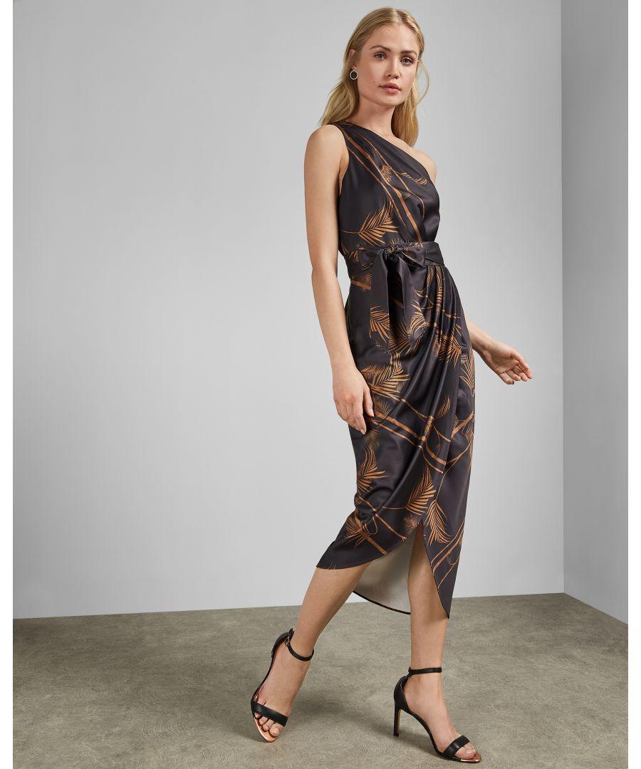 Image for Ted Baker Gabia Caramel One Shoulder Midi Dress, Black