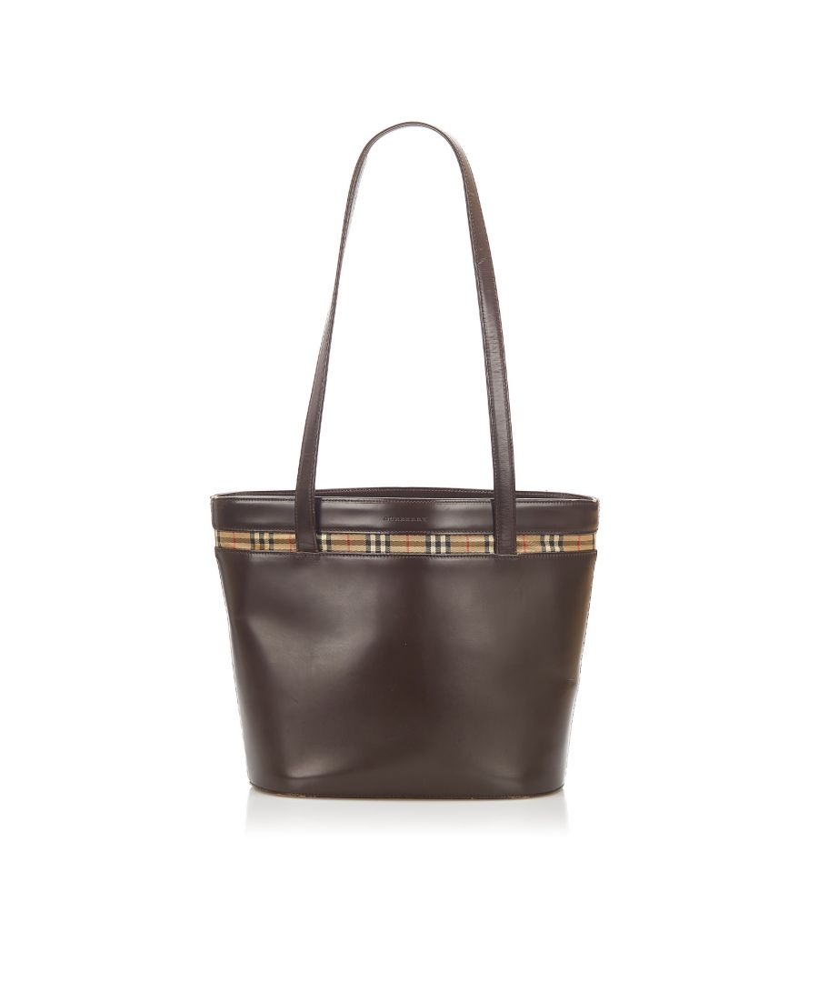 Image for Vintage Burberry Leather Tote Bag Brown