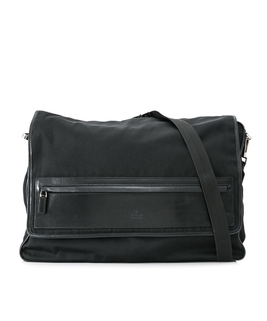 Image for Vintage Gucci Canvas Crossbody Bag Black