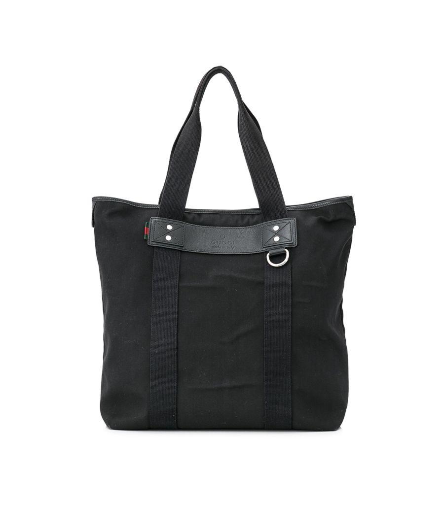 Image for Vintage Gucci Canvas Tote Bag Black