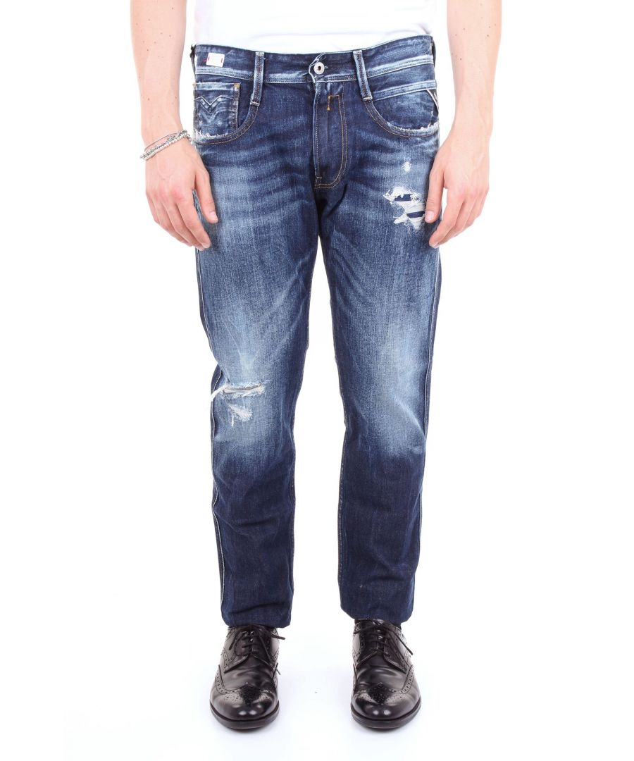 Image for REPLAY MEN'S MC91461C159RJEANSSCURO BLUE COTTON JEANS