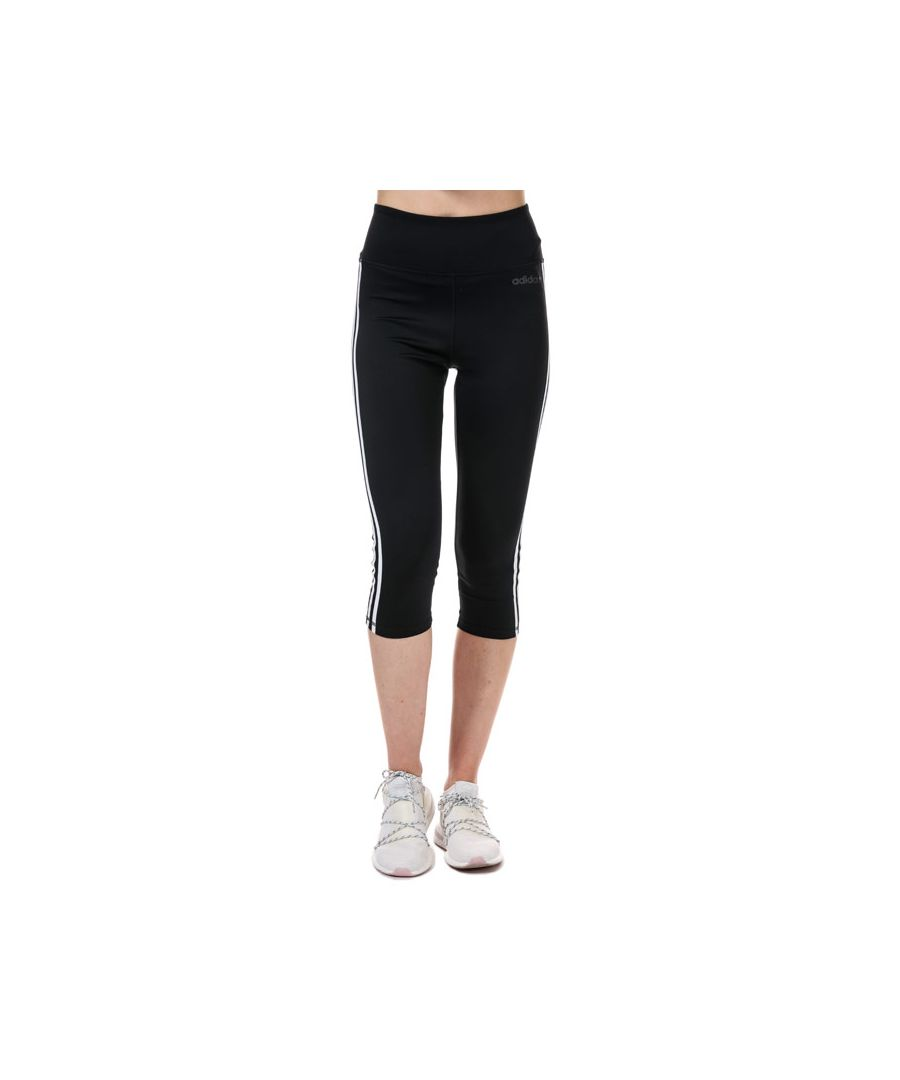 Image for Women's adidas D2M 3-Stripes 3/4 Tights in Black-White